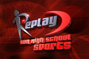 Replay: Sun High School Sports - Broadcast show open. 3D show open, video and effects compositing.