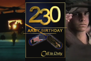 Army video open. 230 Army Birthday.